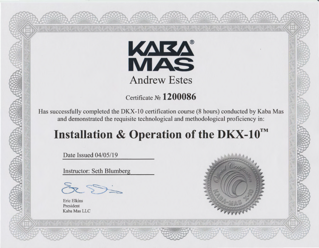 DKX-10 Certification